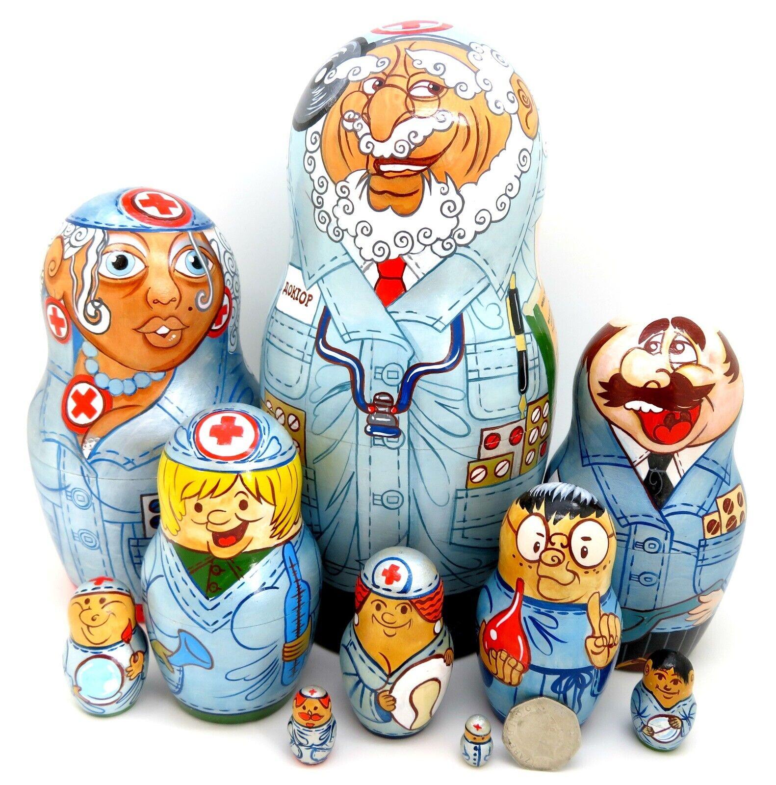 I Dottori & Infermiere MATRIOSCA bambole russe a matrioska 10 Diverdeenti Dottore Infermiera firmato