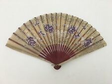 Antique Delicate Paper Woman's Hand Held Fan Purple Floral Design