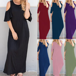 6f95396703bc Women Off-The-Shoulder Short Sleeve T-Shirt Dress Cocktail Long Maxi ...