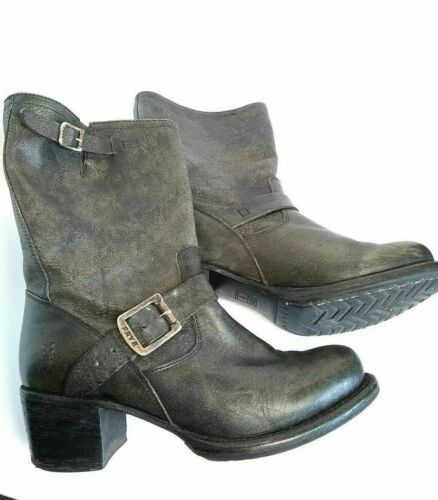 Frye Vera Short Engineer Boots, Size 8 olive gray