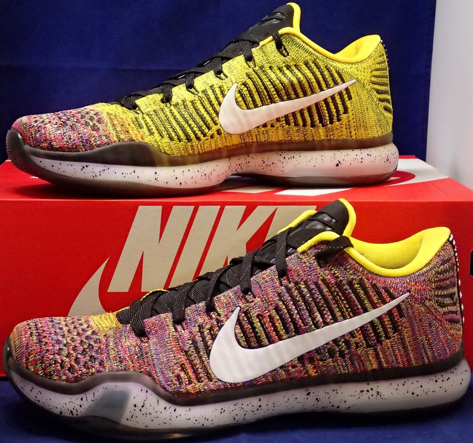 Nike - x elite basso flyknit multicolore qs id giallo sz 10 (802817-903)