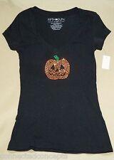 Halloween Studded Pumpkin Women's Short-Sleeve V-Neck T-Shirt (Size XSmall) NEW!