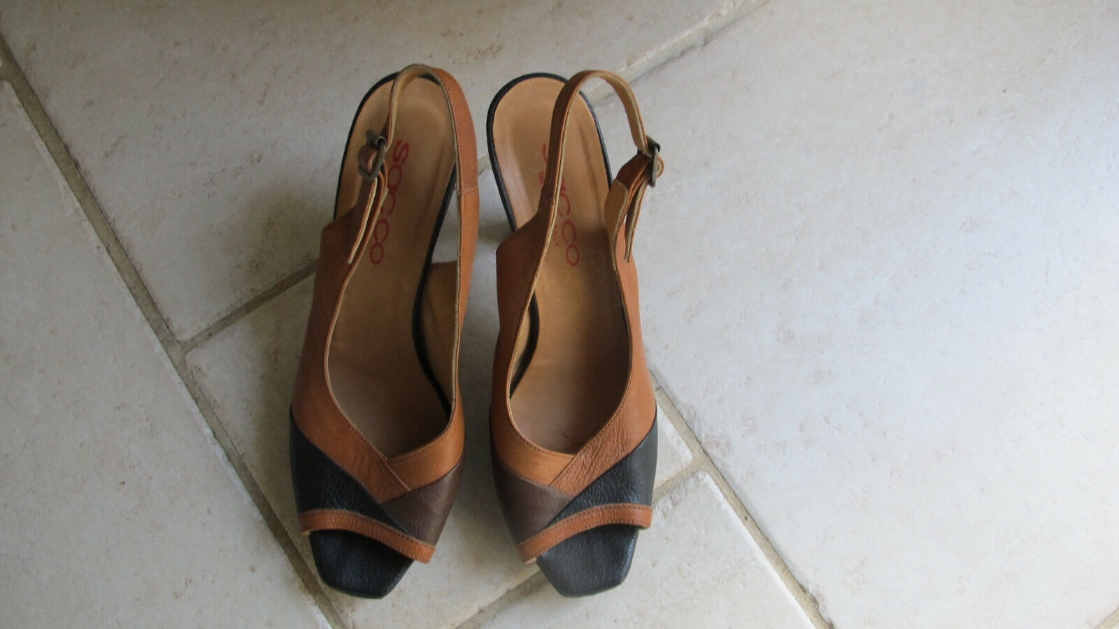Sacco Tri Farbe Leather Open Toe Slingback Heels.Größe 40 EUR, 10 US.