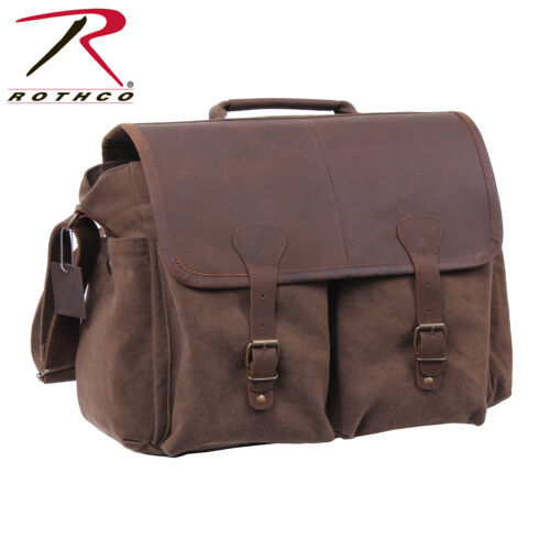 Rothco Vintage Military Leather Flap Messenger Bag
