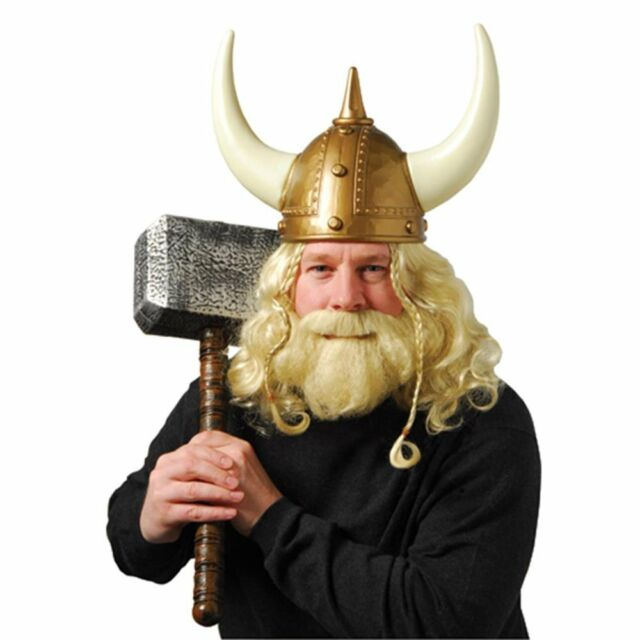 Adult Viking Warrior Horns Plastic Hat Halloween Helmet ...