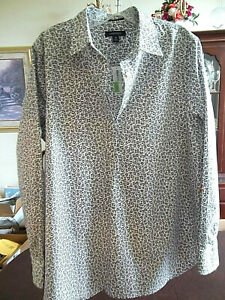 Land's End Women's Long Sleeve Gray Brown Paw Print Tunic Blouse Top Size 16