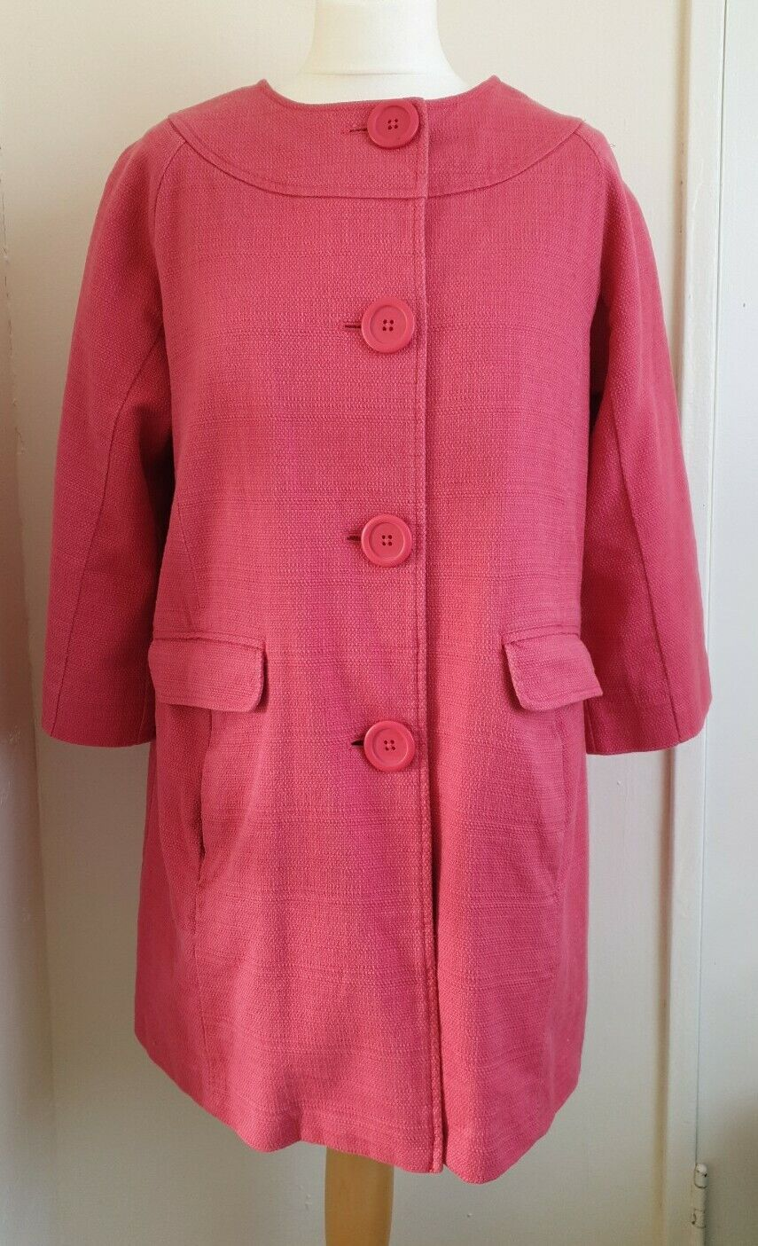 BODEN Coral Pink Woven 100% Cotton Large Buttons 3/4 Sleeved Coat Size 12