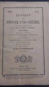 Rivista Beiblatter N° 2 Zu Den Annalen Der Physik Und Chemie 1894 Lipsia Verlag