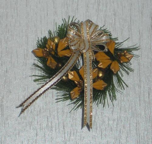 goldfarben Maßstab 1:12 Miniatur Weihnachten/Puppenstube #01# Weihnachtskranz