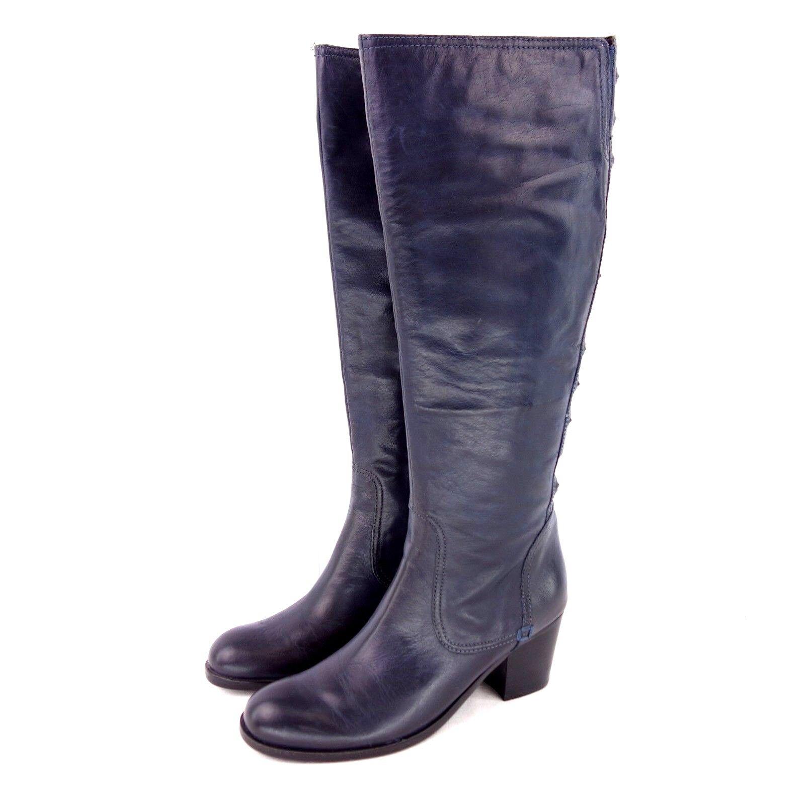 Apepazza botas Mujer 36 37 Azul Zapatos Cuero Cuero Cuero Altura Rodilla rojoondo Tacón Np 470000