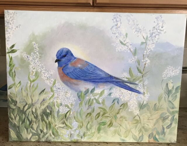 Original Signed Oil On Canvas Painting Bluebird In Field Of Flowers