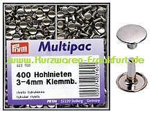 Multipack 16.46 EUR//100 St. PRYM Hohlnieten 3-4mm Nieten silber 400St