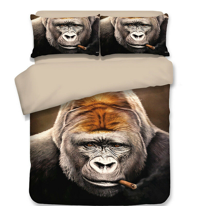 Gift Funny smoking gorilla bedding duvet Cover+pillowcase twin full queen king