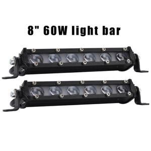 2X-12V-30W-8zoll-LED-Auto-Arbeitsleuchte-Zusatzscheinwerfer-6000K-Offroad-Lampen