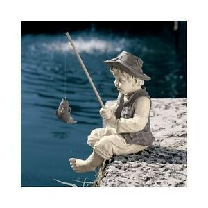 Image Is Loading Boy Fishing Statue Sculpture Garden Art Yard Decor