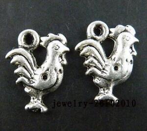 30pcs-Tibetan-Silver-Lovely-Cock-Charms-Pendants-15x12mm-20192