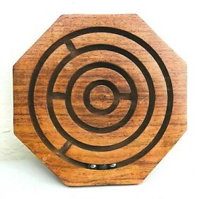 Handcrafted Wooden Labyrinth Ball Maze Puzzle Game /& Decoration