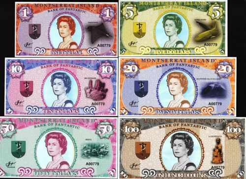 UNC 2018 MONTSERRAT ISLAND 1 5 10 20 50 100 DOLLAR 6 PCS SET SAME SERIAL
