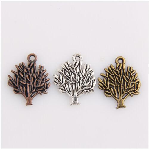50 Tree Tibetan Silver Bronze Copper Pendants Jewelry Making Findings EIF0324