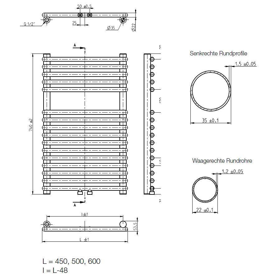 Buderus Logatrend Logatrend Logatrend Therm Direct Q m 740x450 mm Mittenanschluss + li/re RAL 9016 aca239