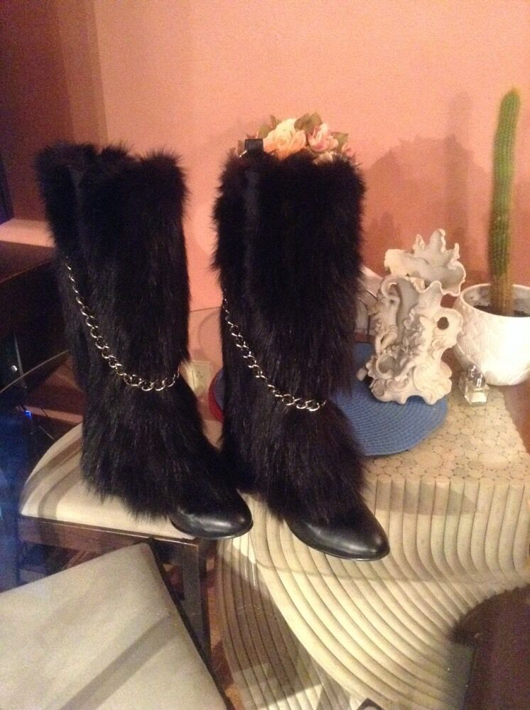 GORGEOUSE just beautiful    black fox NATURAL FUR   WOMEN BOOTS SZ 8