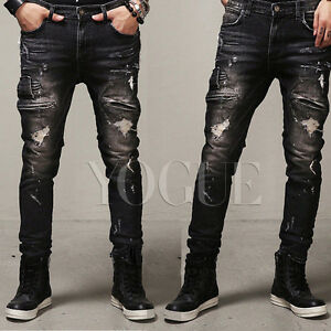 f55dc8a3d65 Details about Men's Distressed Ripped Jeans Moto Black Denim Pants Slim Fit  Skinny Trousers