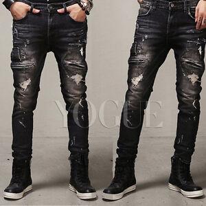 Men s Distressed Ripped Jeans Moto Black Denim Pants Slim Fit Skinny ... d2f265dc6