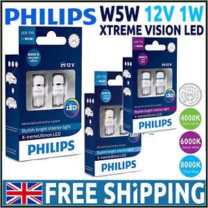 Philips-X-treme-Vision-BOMBILLAS-LED-COCHE-W5W-501-T10-Blanco-Xenon-4000K-6000K-8000K