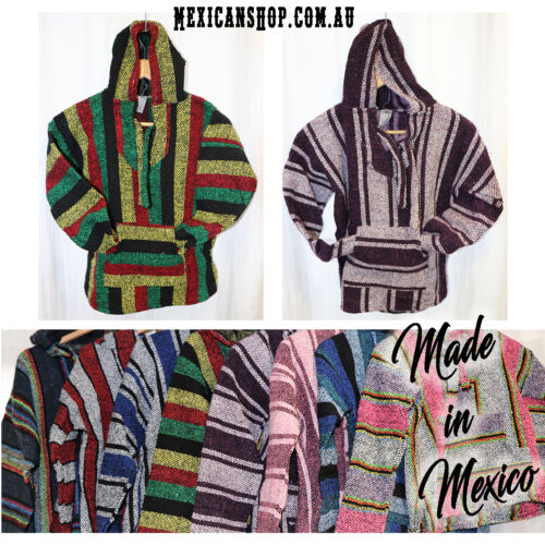 Mexican Baja Hoodie Unisex Adult XXXL Pullover Hippie Surfer Jerga Poncho