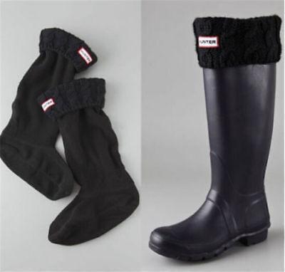 knit Cuff Welly Mid Socks For Tall Rain Boots Liners Cross Polar Fleece//black  M