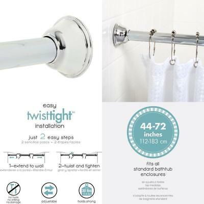 Shower Curtain Rod 44 Inches To 72 Inches Tension Bathroom Accessories Chrome US
