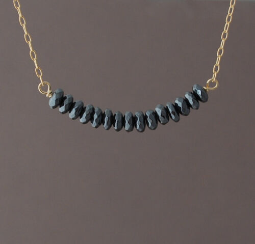 or Silver Black Hematite Stone Strand Beaded Necklace Gold Rose Gold