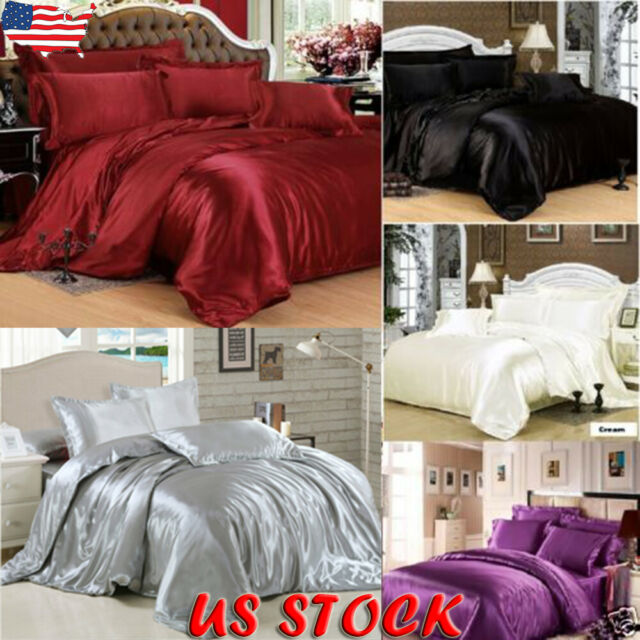Ice Silk Soft Satin King Queen Twin Size Quilt Cover Sets Bed
