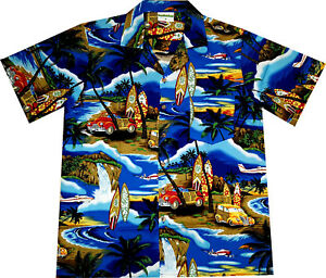 Camisa-Hawaiana-034-Tiempo-de-Playa-034-100-algodon-S-6XL-azul-Hawaiiana