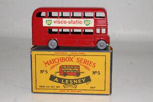 Matchbox Lesney # 5c Londres Bus Routemaster, Gpw, excellent, Rare Type C Boîte