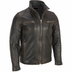 Men-039-s-BLACK-Rivet-Leather-Faded-Seam-Jacket-Genuine-Leather-Jacket