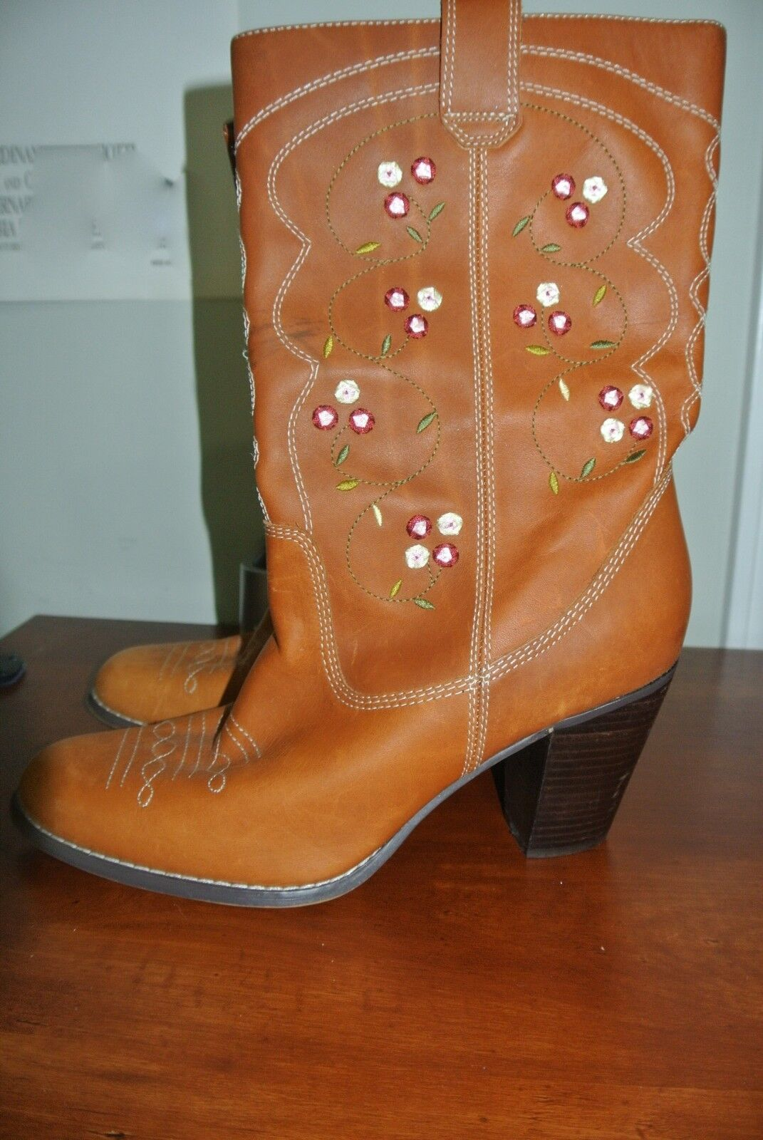 SEYCHELLES FLORAL EMBROIDErot LEATHER UPPER UPPER UPPER COWGIRL Stiefel SZ 10 c1b778