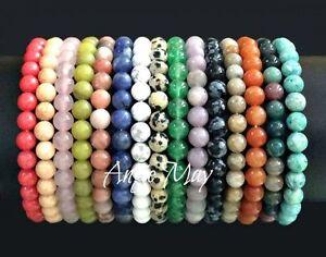 Wholesale-Lot-5-Genuine-Gemstone-4m-6mm-8mm-10mm-Round-Bead-Stretch-Bracelets
