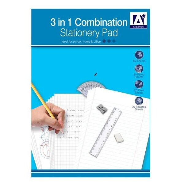 3 in 1 A4 Combination Stationery Pad Set Plan Squared Ruled School ...