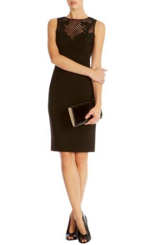 BNWT impresionante Karen Millen Negro con Apliques recorte de malla detalle lápiz Vestido Talla 6