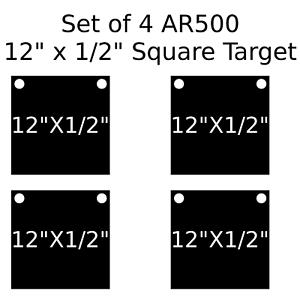 Conjunto de 4 AR500 de acero cuadrado de destino 1 2  X 12  pintado de negro práctica de disparo