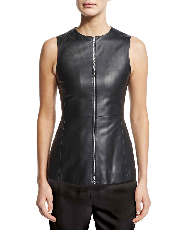 New Genuine Leather Peplum Top Sleeveless Shirt Vest Slim Fit Jewel Neckline