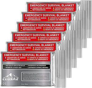 CLUSAZ-6-Couvertures-de-Survie-XL-210cm-x-160cm-Retient-90-DE-la-Chaleur