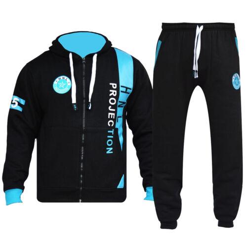 Mens Tracksuit Set Zip Up Hoodie Top Bottoms Jogging Joggers Gym Fleece HNL Men