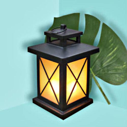 32 LED Bianco Tremolante Candela Lanterna Lampada da esterno luce Arredamento Vintage Nero