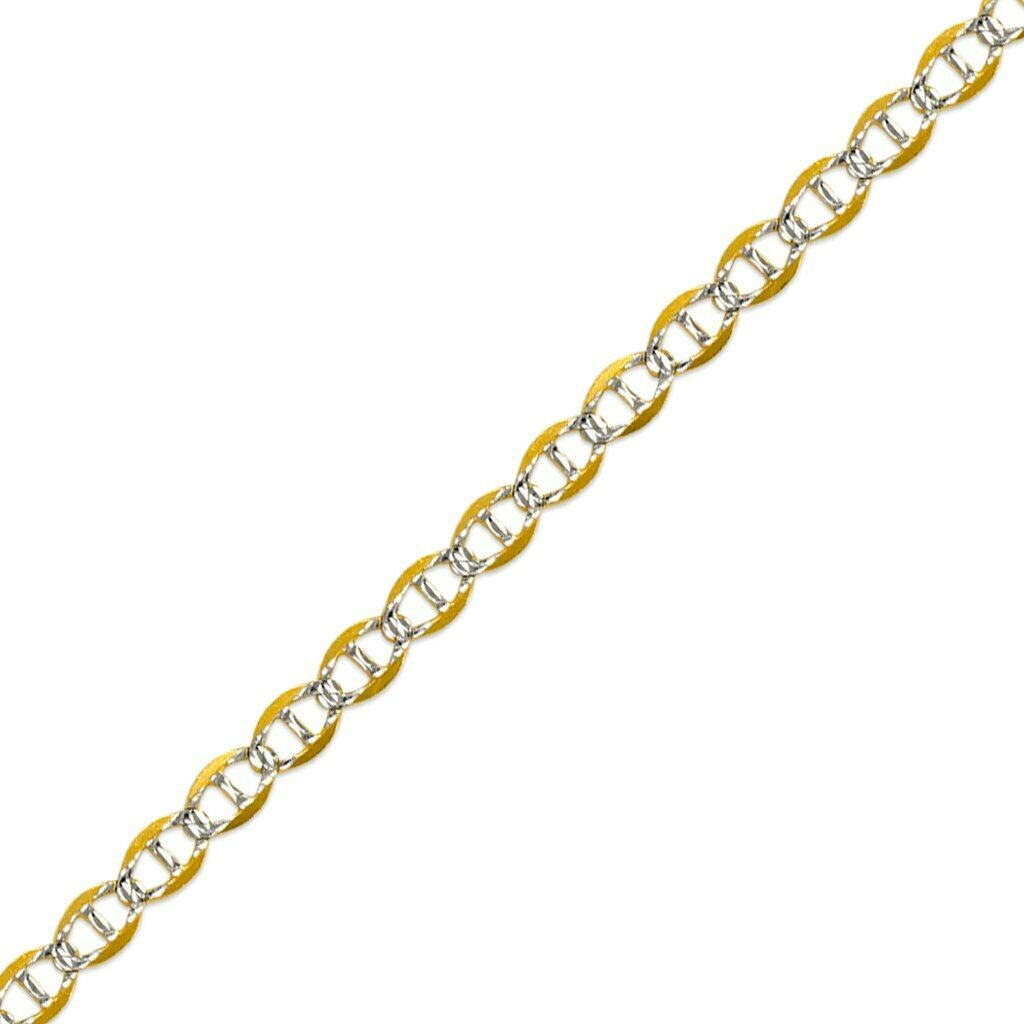 8c75a7b5a 14K Solid Yellow Gold White Pave Men/Women Gucci Flat Mariner Chain Necklace