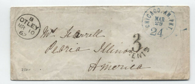 1862 Otely UK to Peoria IL transatlantic stampless Chicago Am Pkt  [RF.154]