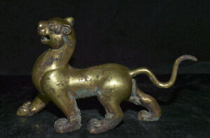 8-4-034-Vieux-Bronze-Chinois-24K-Or-Dore-Feng-Shui-Animal-Blanc-Tigre-Bete-Statue