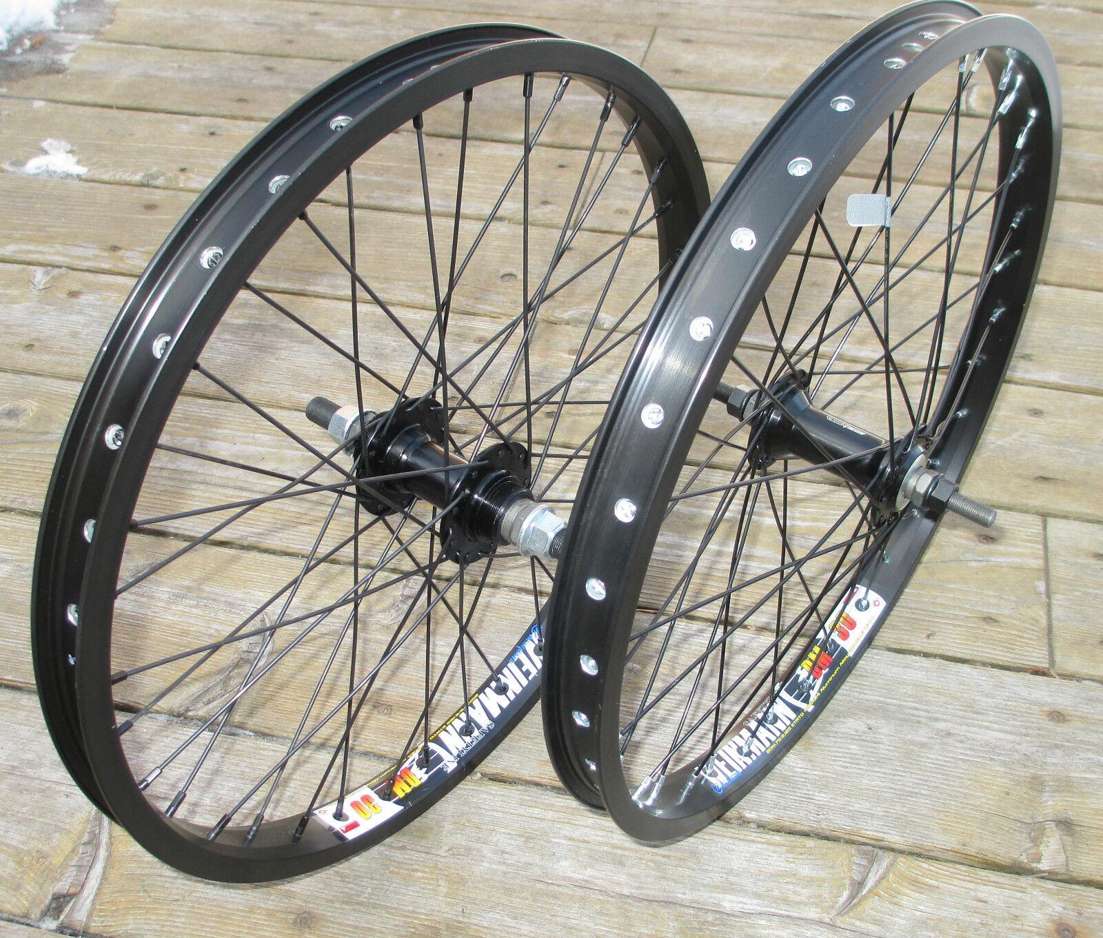 Wheel Set 20  BMX Park 3 8 Front 14mm Flip Flop Rear Double Walled Rims New