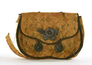 Japanese Brocade Silk Tobacco Pouch Purse Silver Imperial Chrysanthemum AS IS